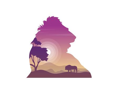 Silhouette of lion on the hill beauty landscape design vector illustration Ilustracja