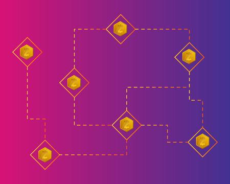 Blockchain smart cash digital payment background style Ilustracja