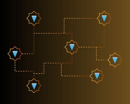 Blockchain verge circuit network background collection vector illustration