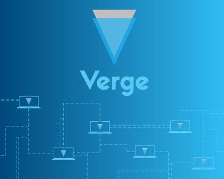 Blockchain verge on blue background collection vector illustration Ilustracja