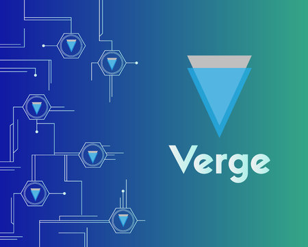 Blockchain verge digital payment background collection vector illustration