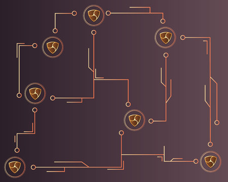 Cryptocurrency Nem blockchain technology background