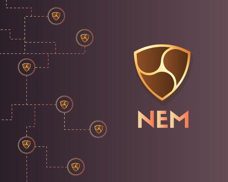 Cryptocurrency Nem blockchain technology background Stockfoto - 97356699