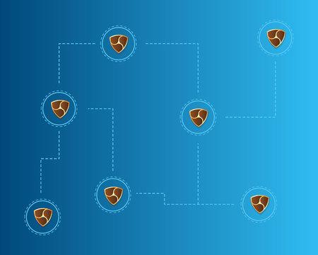 Cryptocurrency Nem blockchain technology world background