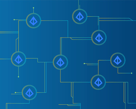 Loopring cryptocurrency style on blue background