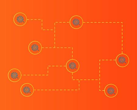 Qtum blockchain cryptocurreny network connected background vector illustration Stock Illustratie