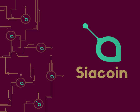 Siacoin blockchain cryptocurrency circuit network background Stock Illustratie