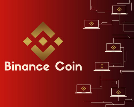 Binance coin style on red background Illustration