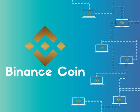 Binance munt blockchain stijl achtergrond vectorillustratie Stockfoto - 97361185
