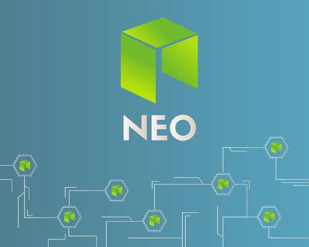 Cryptocurrency NEO circuit style background vector illustration Ilustração