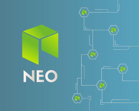 Cryptocurrency NEO circuit style background Ilustração