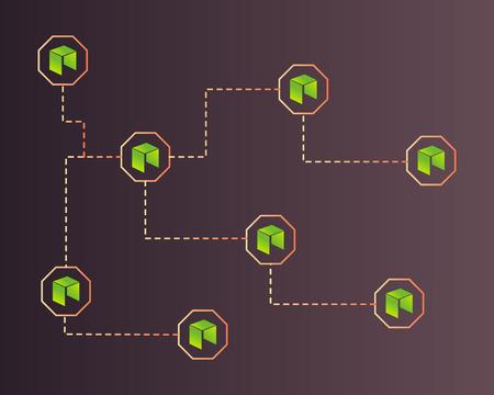 Cryptocurrency NEO style on dark background Ilustração