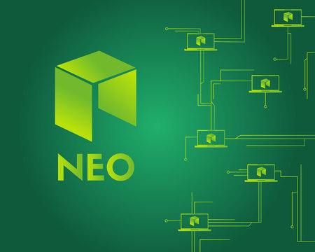Cryptocurrency NEO circuit style on green background