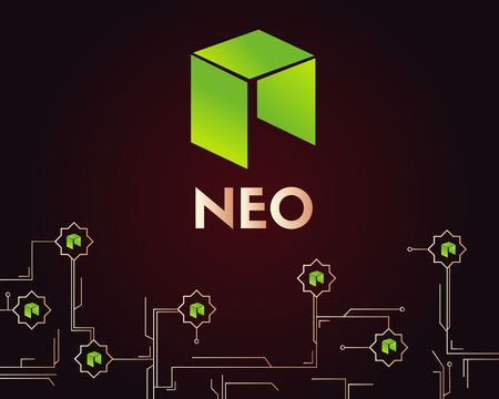 Cryptocurrency NEO blockchain circuit style background