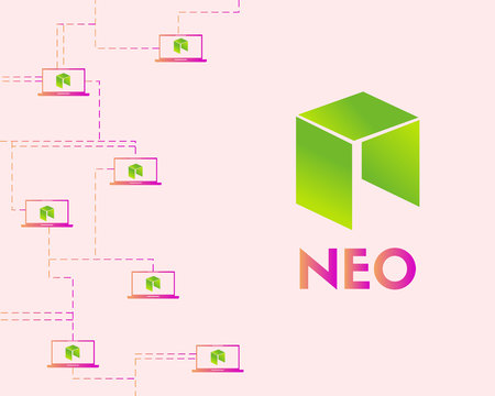 Cryptocurrency NEO style networking background