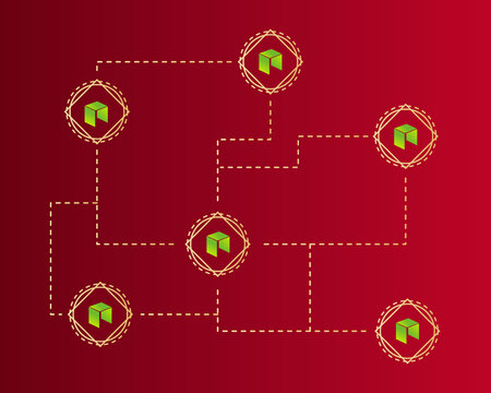 Cryptocurrency NEO style on red background