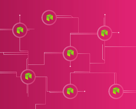 Cryptocurrency NEO blockchain technology style background