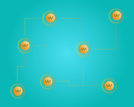 Blockchain wax cryptocurrency networking background Illustration