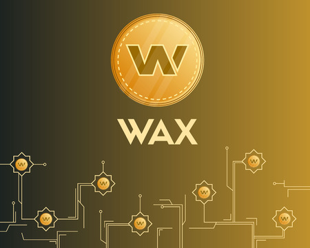 Blockchain wax cryptocurrency circuit background Illustration