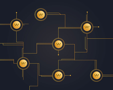 Blockchain wax cryptocurrency circuit on dark background vector illustration