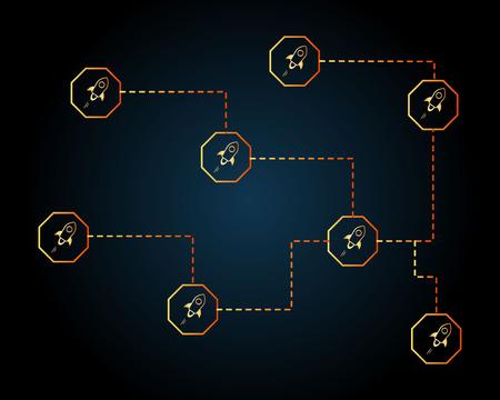 Blockchain stellar style networking background