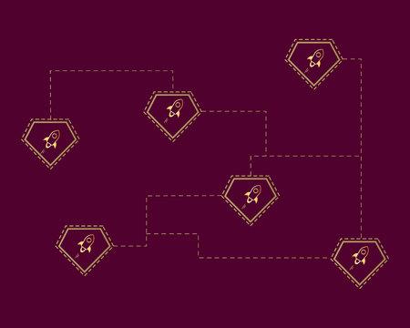 Blockchain stellar technology network style background