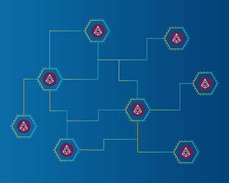Blockchain augur cryptocurrency circuit on blue background