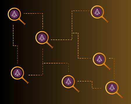 Blockchain augur cryptocurrency with magnifying background