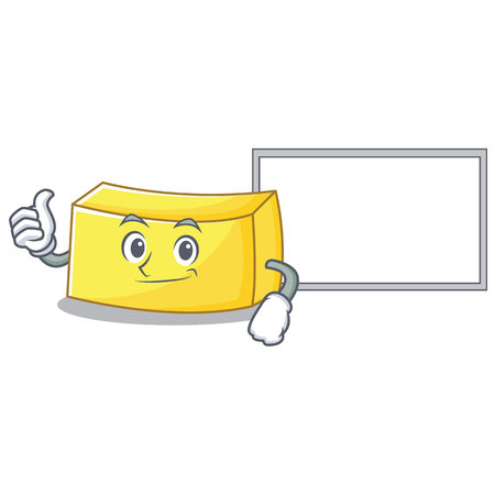 Thumbs up with board butter character cartoon style