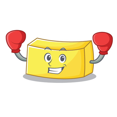 Boxing butter character cartoon style