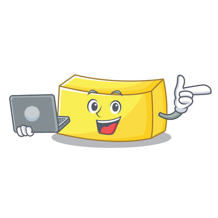 With laptop butter character cartoon style