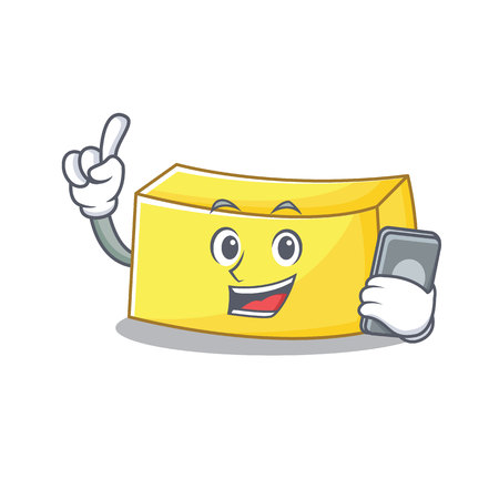 With phone butter character cartoon style Illustration