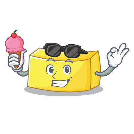 With ice cream butter character cartoon style