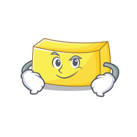 Smirking butter character cartoon style