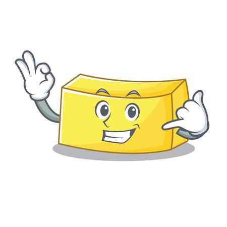 Chiamami illustrazione di vettore di stile del fumetto della mascotte del burro. Vettoriali