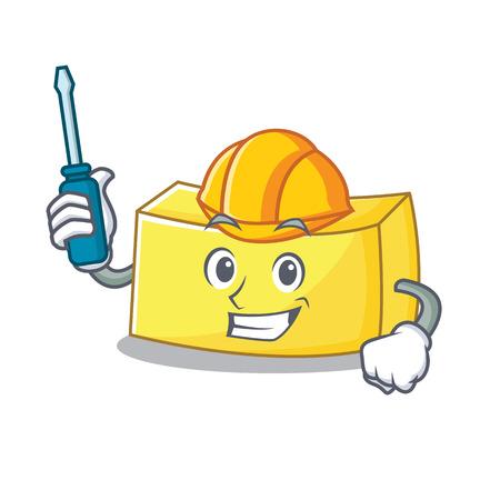 Automotive butter mascot cartoon style Vector illustration.