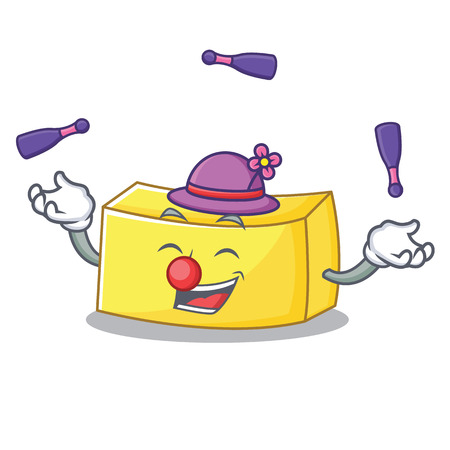 Juggling butter mascot cartoon style vector illustration