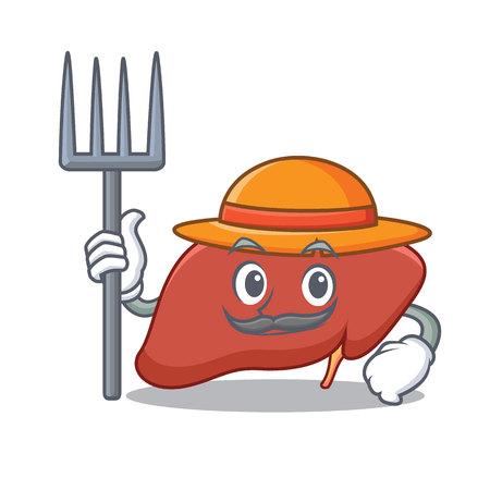 Farmer liver character cartoon style Vector illustration.