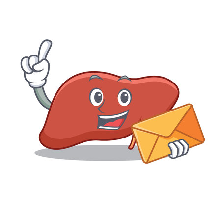 With envelope liver character cartoon style Vector illustration. Illustration