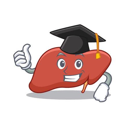 Graduation liver character cartoon style Vector illustration. Illustration