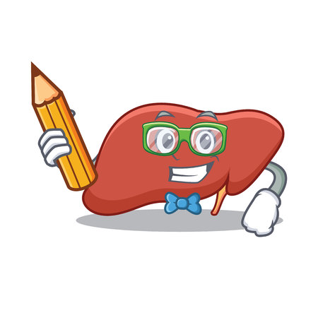 Student liver character cartoon style Illustration