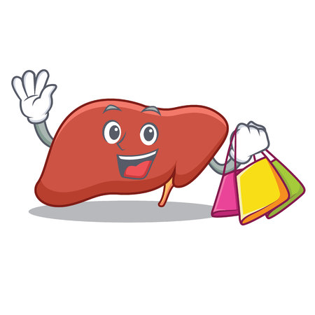 Shopping liver character cartoon style