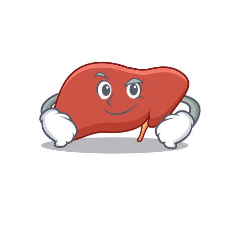 Smirking liver character cartoon style Illustration. Illustration