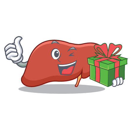 With gift liver character cartoon style Illustration.