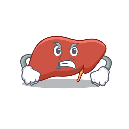 Angry liver mascot cartoon style