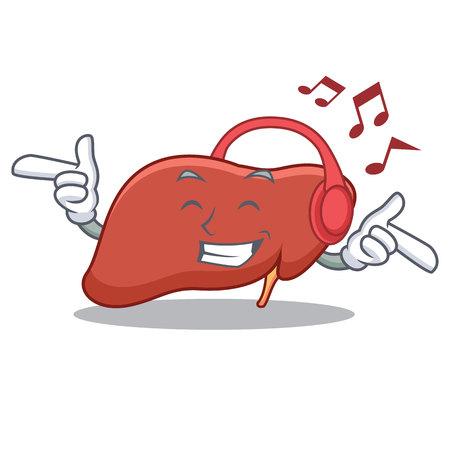 Listening music liver mascot cartoon style