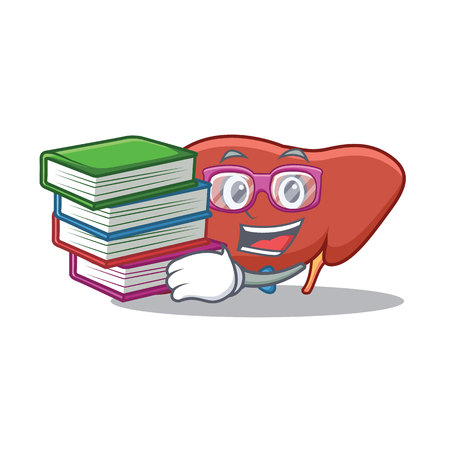 Student with book liver mascot cartoon style Illustration