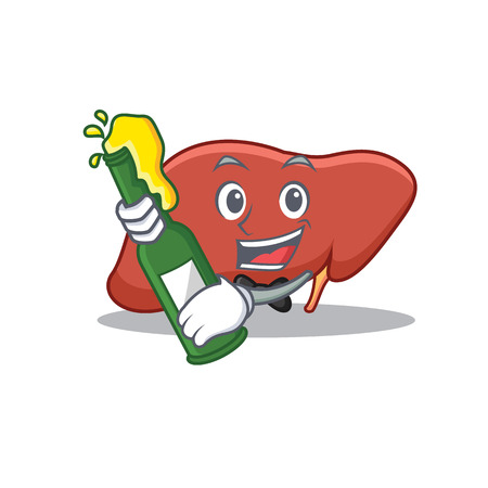 With beer liver mascot cartoon style.