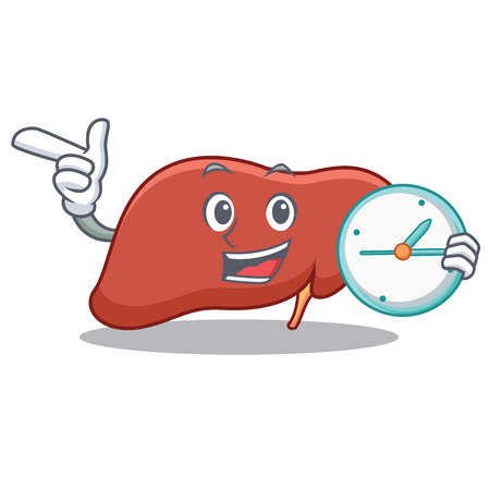With clock liver character cartoon style Illustration