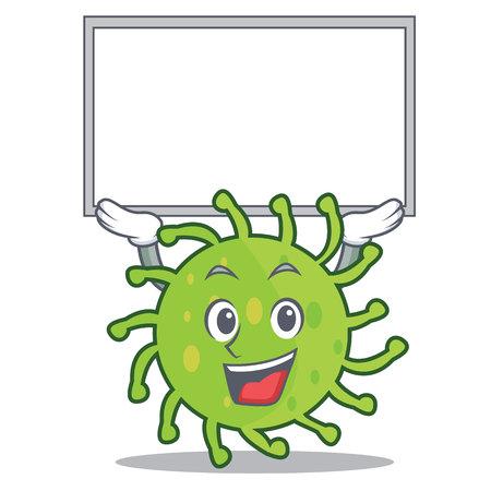 Up board green bacteria character cartoon